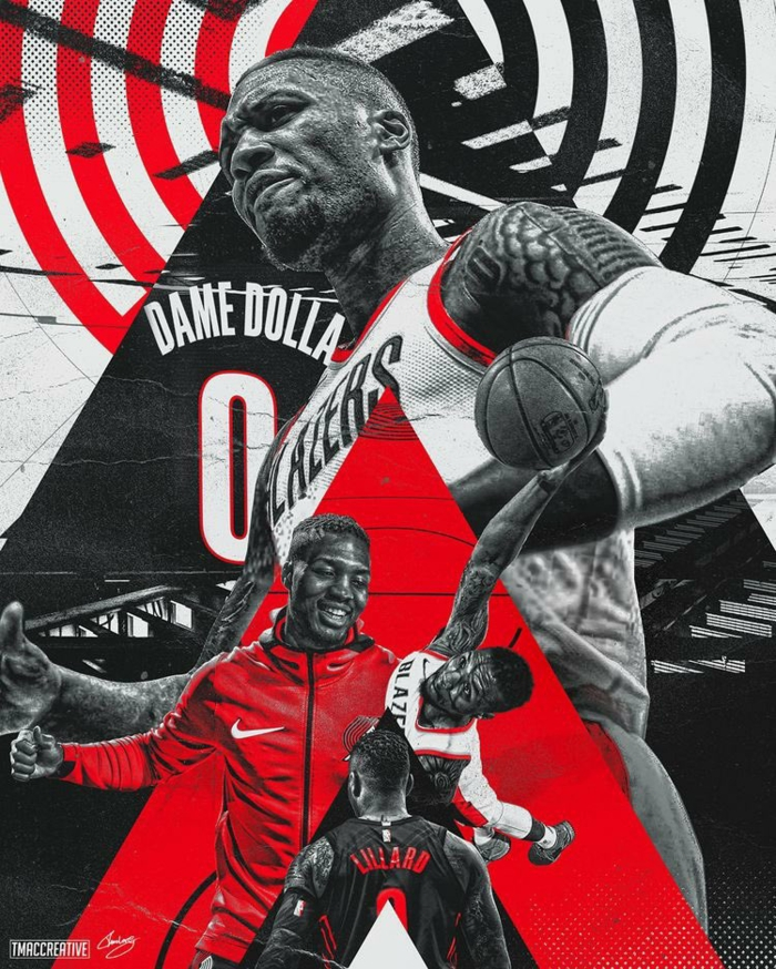 basketball wallpaper iphone, damian lillard, photo edit, wearing portland trail blazers uniforms