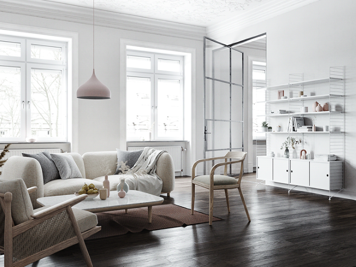 white sofa, wooden coffee table and armchairs, modern living room furniture, dark wooden floor