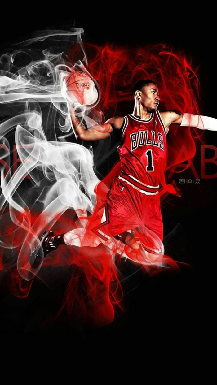 cool nba wallpapers, derrick rose, wearing chicago bulls uniform, mid air dunking the ball