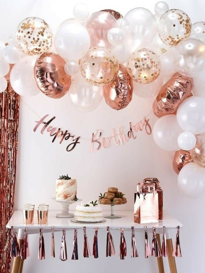 rose gold decor, white and rose gold ballons, hanging over dessert table, 18th birthday ideas, happy birthday banner