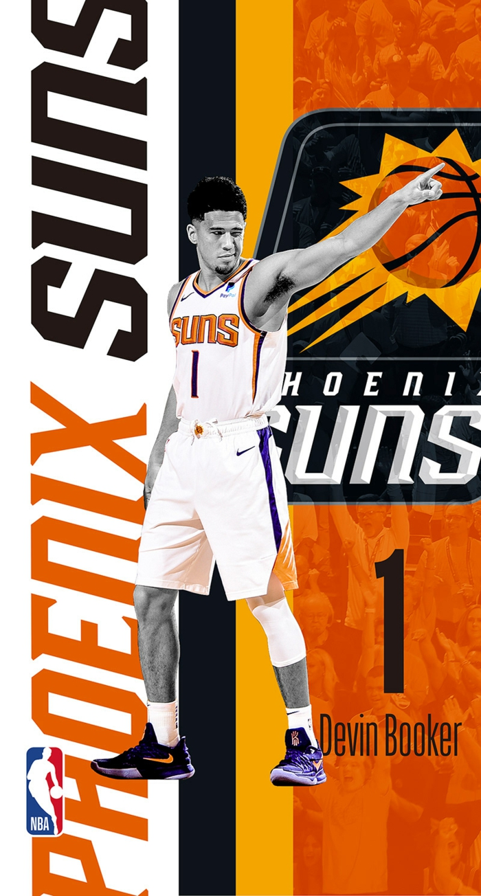 photo edit, cool nba wallpapers, devin booker, wearing phoenix suns uniform, orange background