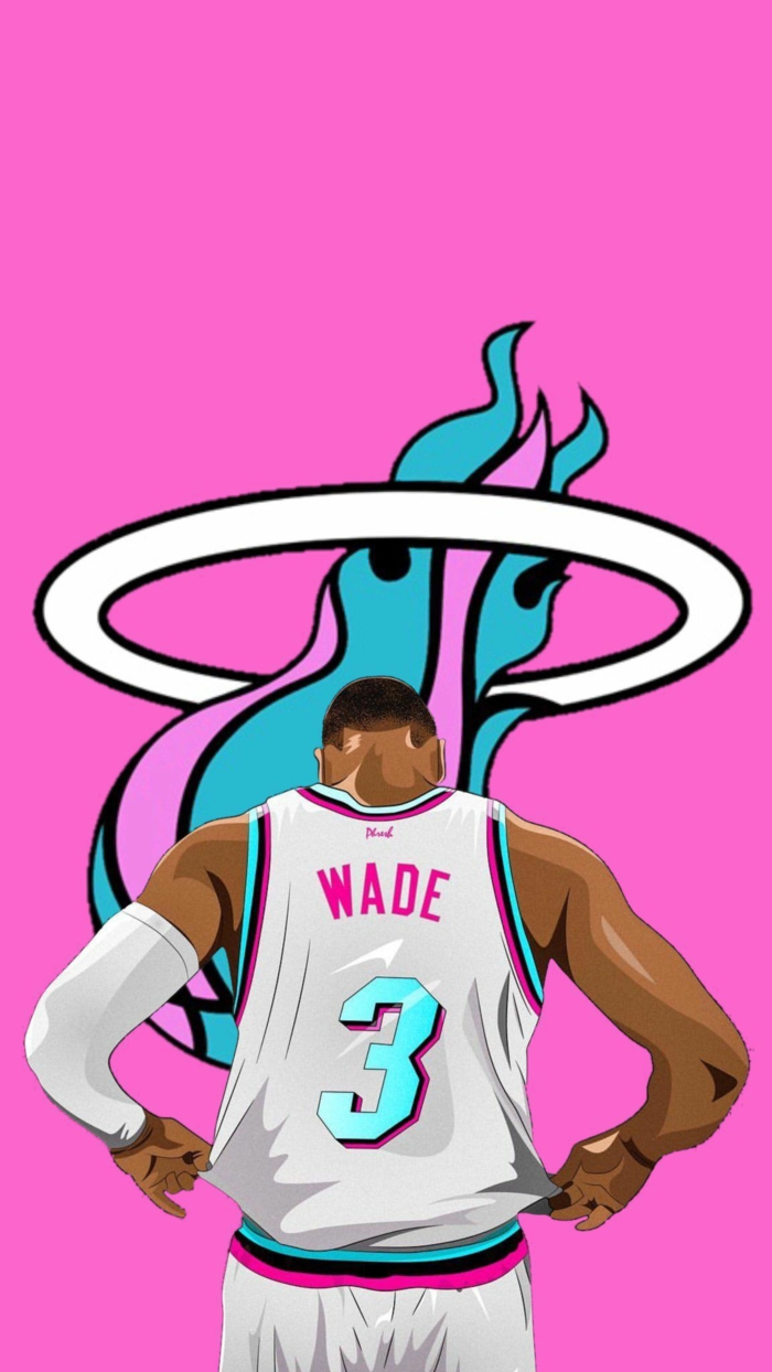dwyane wade, wearing miami heat uniform, inspired by miami vice, cool nba wallpapers, pink background