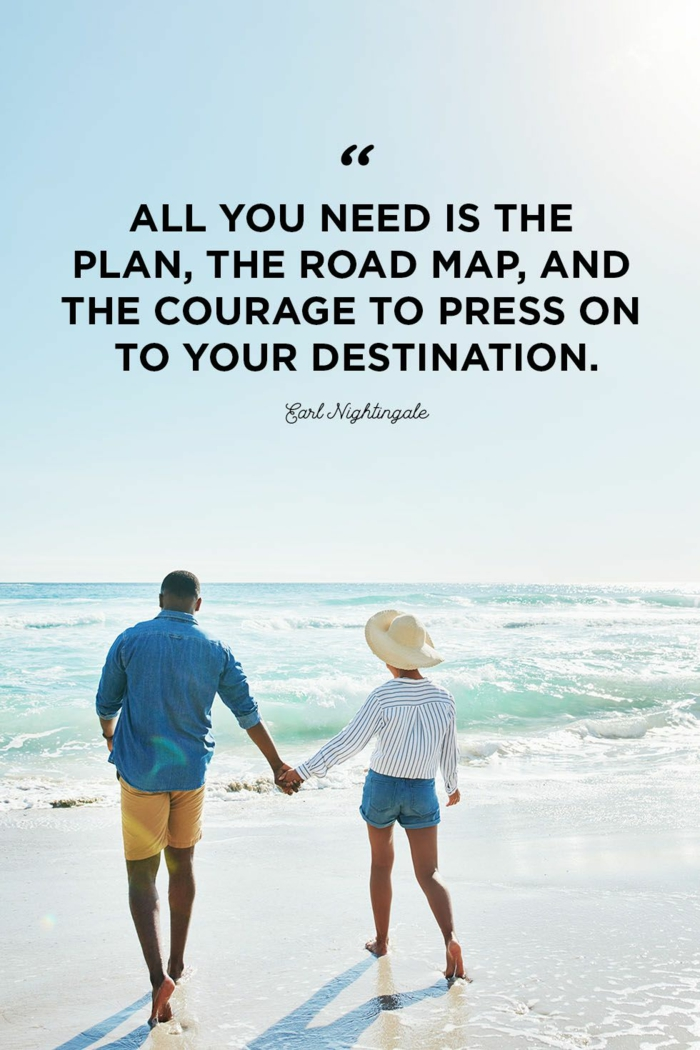 earl nightingale quote, written with black letters, strength inspirational quotes, background photo of couple on the beach