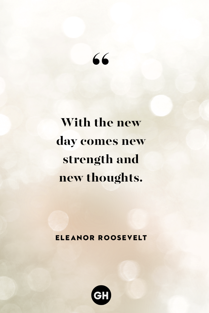 with the new day comes new strength and new thoughts, tough times quotes, written with black letters, eleanor roosevelt quote