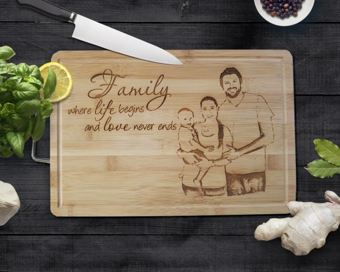 family where life begins and love never ends, personalised cutting board, anniversary gifts for her