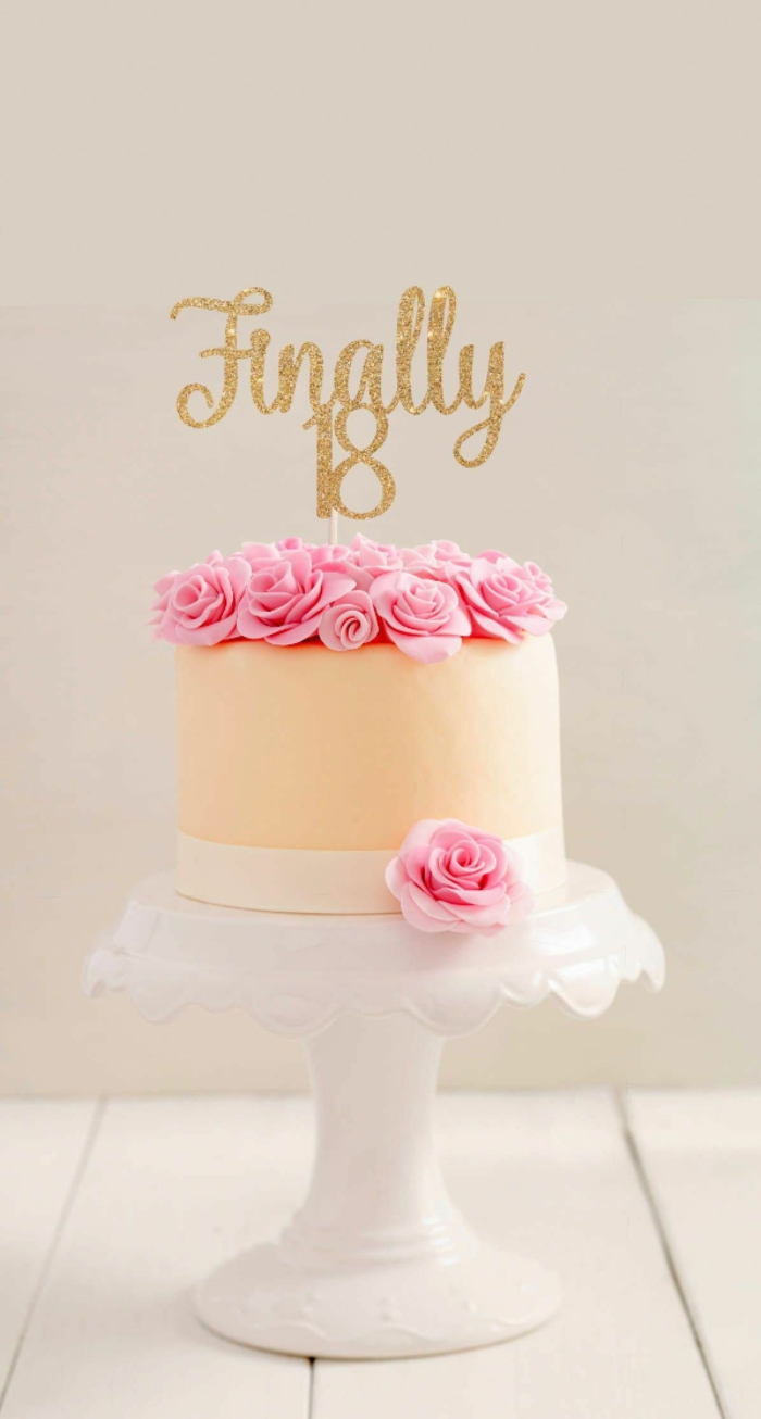 finally 18 gold glitter cake topper, 18th birthday gift ideas, one tier cake, decorated with pink buttercream roses
