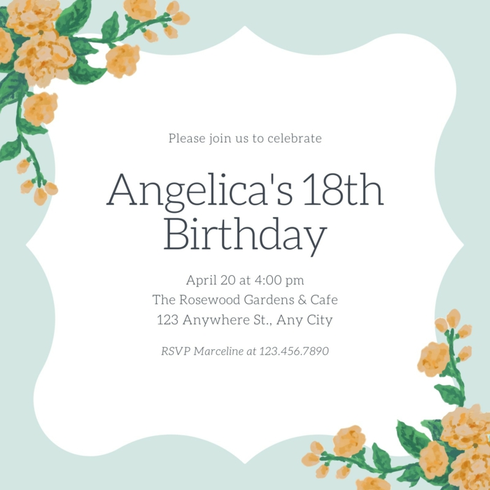angelica's 18th birthday, birthday party invitation, things to do for 18th birthday, blue with orange flowers
