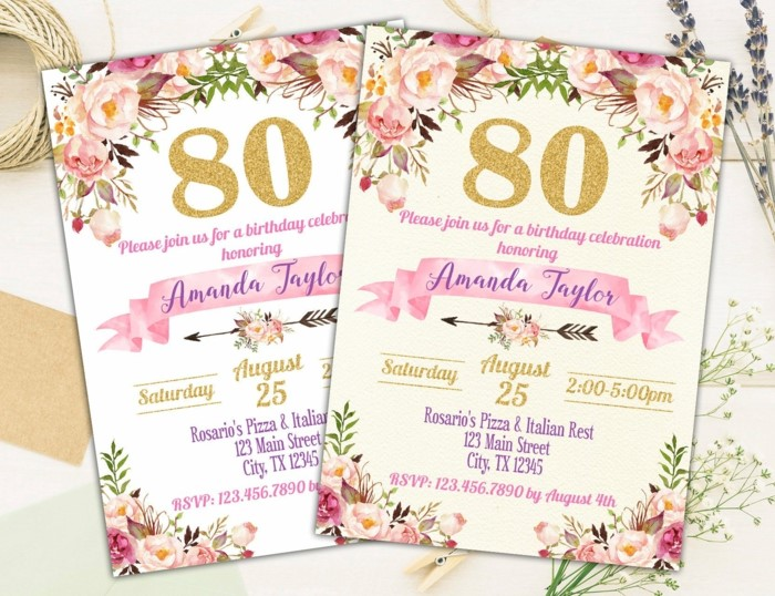 80th birthday, party invitations, white with floral decorations on them, pink and purple letters