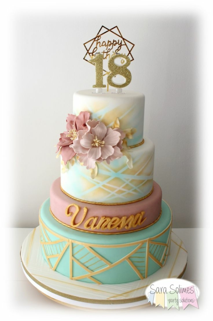 four tier cake, covered with pink and blue fondant, 18th birthday gift ideas, decorated with pink flowers