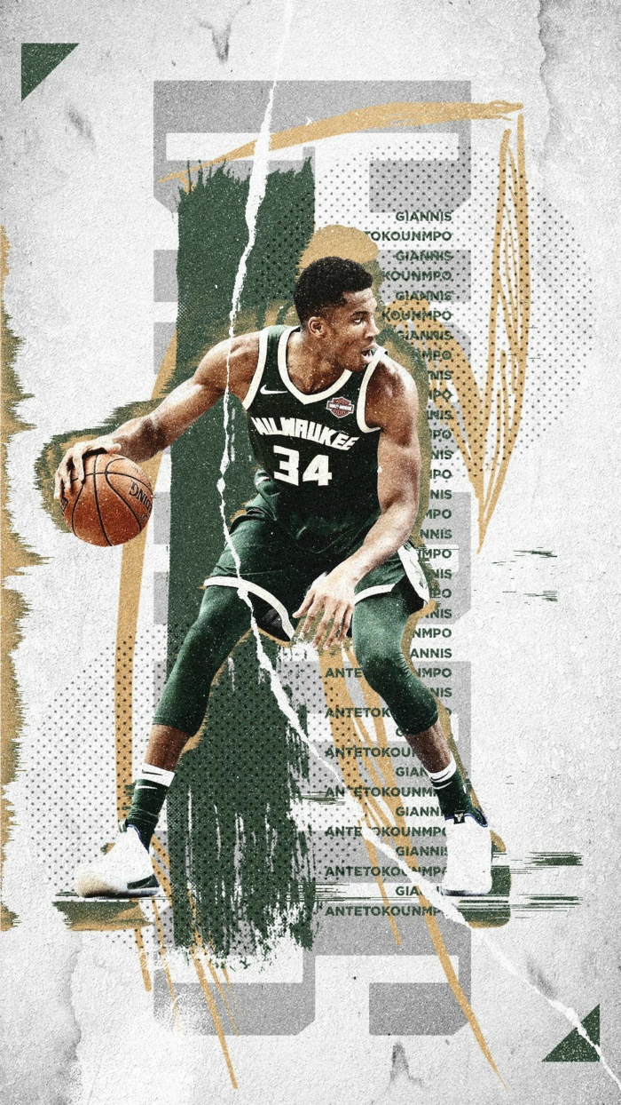 giannis antetokounmpo, photo edit, dribbling the ball, nba wallpaper iphone, wearing milwaukee bucks uniform