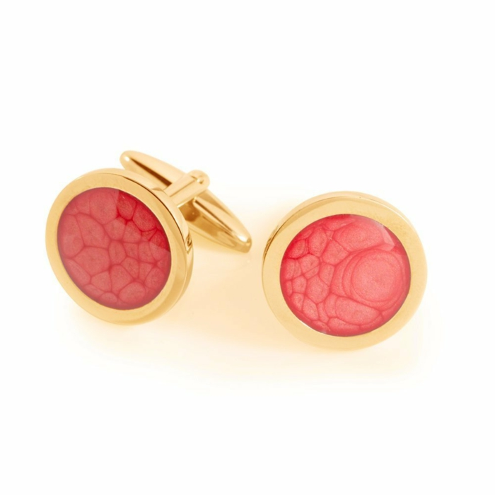 gold and coral cufflinks, white background, anniversary gift for husband