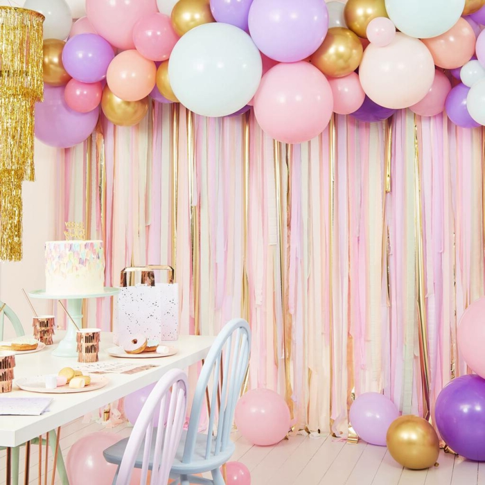 purple pink and gold balloons, hanging over table, 18th birthday gift ideas, cake on the table and plate settings