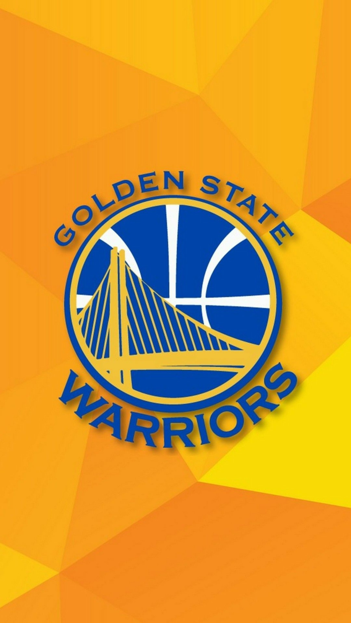 golden state warriors logo, blue logo on yellow background, nba wallpaper iphone