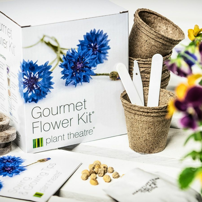 gourmet flower kit, grow your own edible flowers, 50th anniversary gifts