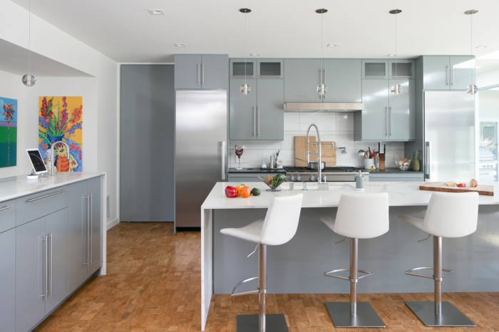 grey cabinets with white countertops, mid century modern tile, white subway tiles backsplash