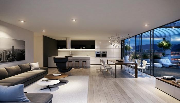 wooden floor with white carpet, living room setup ideas, large grey corner sofa, black leather armchair