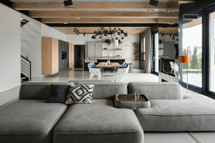 grey corner sofa, modern living room sets, open plan space with kitchen, living room and dining room