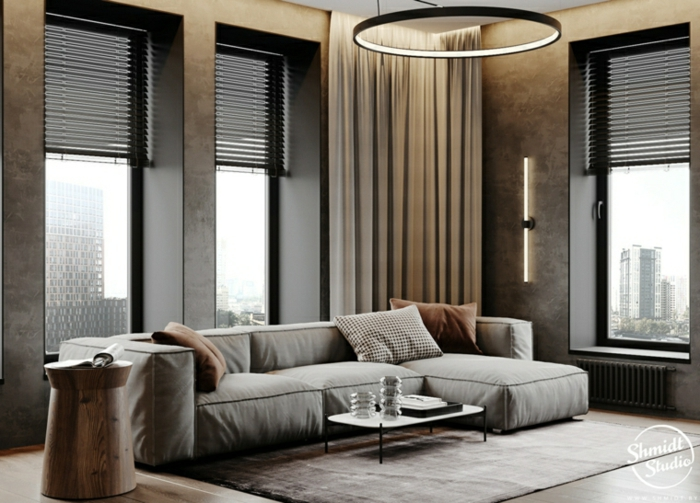 grey corner sofa, wooden floor with grey carpet, tall windows, modern living room sets, small coffee table