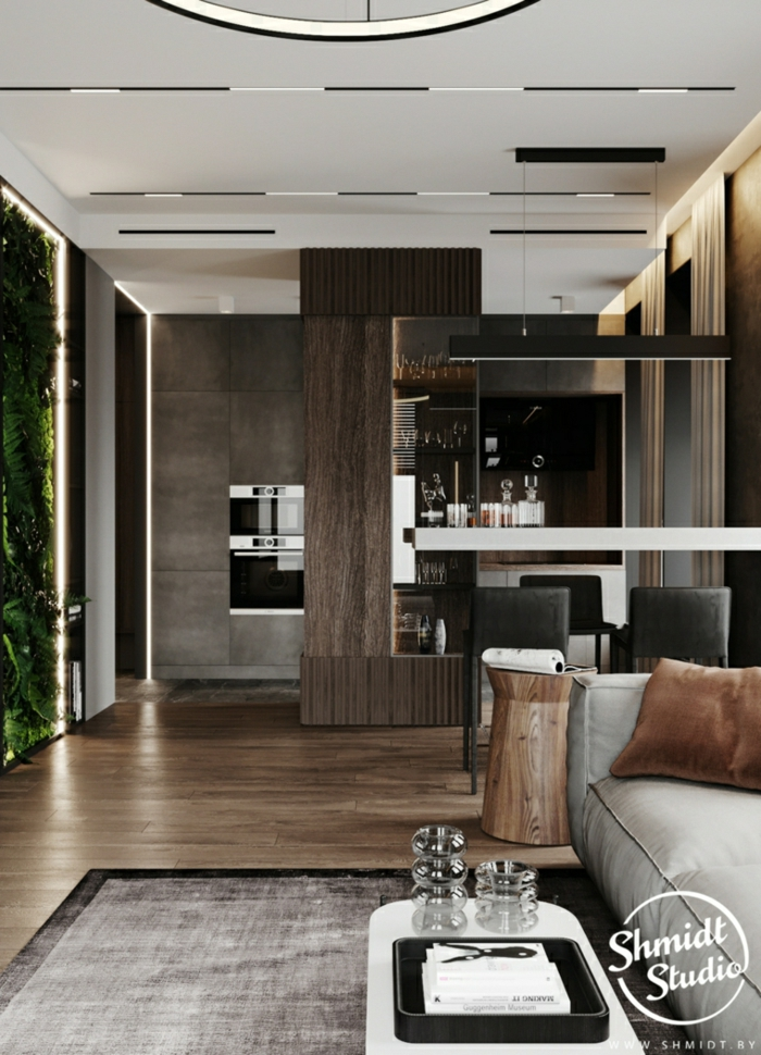 wooden floor with grey carpet, grey sofa, modern living room sets, open plan space with kitchen and living room