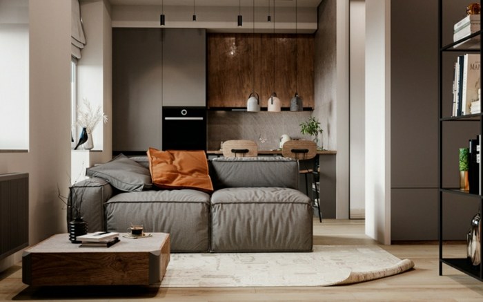 grey sofa, wooden floor with white carpet, family room decorating ideas, wooden coffee table