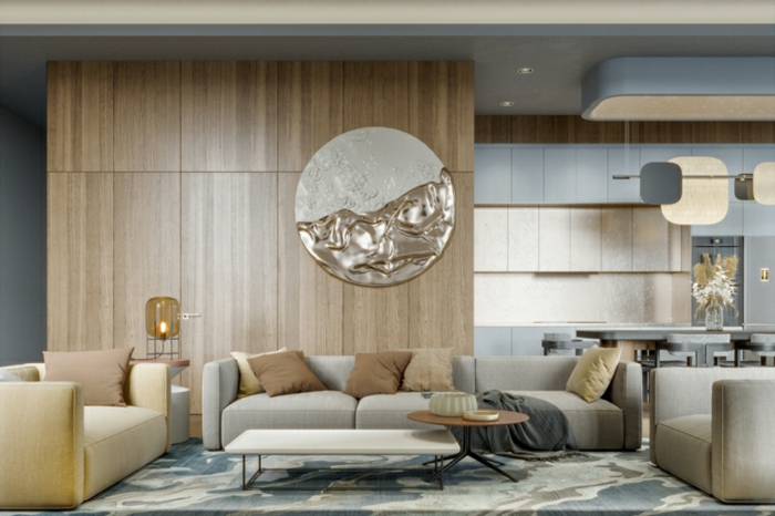 wooden accent wall, grey sofas and armchairs, family room decorating ideas, colorful carpet