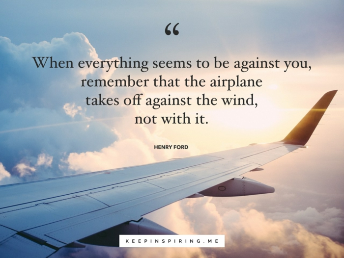 henry ford quote, background photo of plane's wing, flying over the clouds, strength motivational quotes