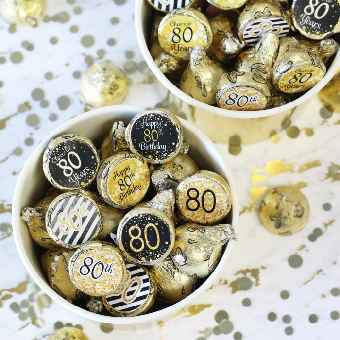 hersheys kisses, wrapped in gold cellophane, stickers for eightieth birthday, 80th birthday party, party favors