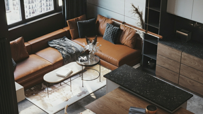 brown leather corner sofa, small black and white coffee tables, family room decorating ideas, kitchen island