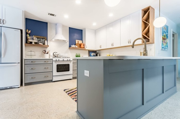 grey and white cabinets, white countertops, modular kitchen cabinets, blue and white backsplash