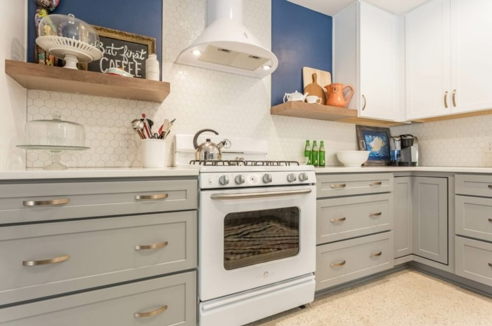 open shelving, grey cabinets with white countertops, modular kitchen cabinets, white tiles backsplash