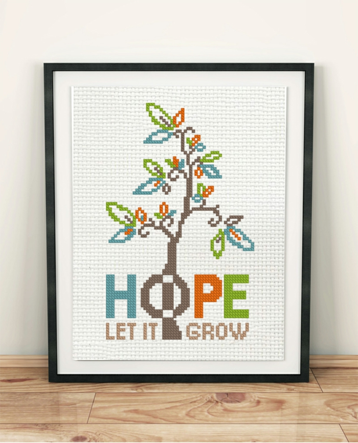 hope let it grow, framed poster with a blossoming tree, strength positive quotes, leaning on white wall