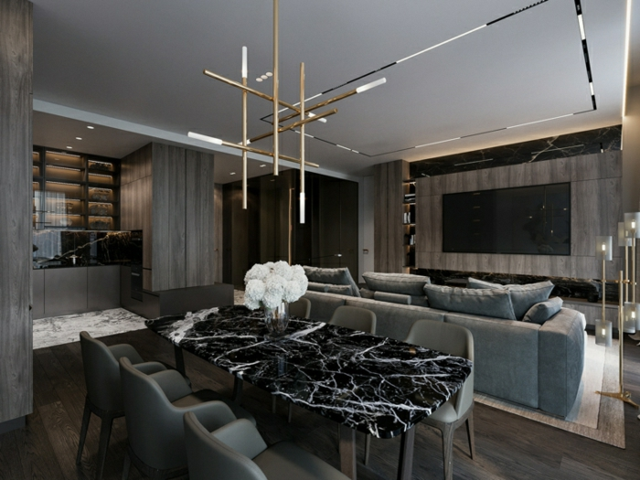 marble dining table with grey chairs, formal living room ideas, grey sofa, dark wooden floor