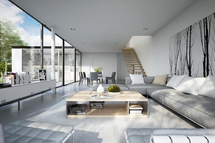 tall windows, formal living room ideas, large grey corner sofa, wooden coffee table, grey floor