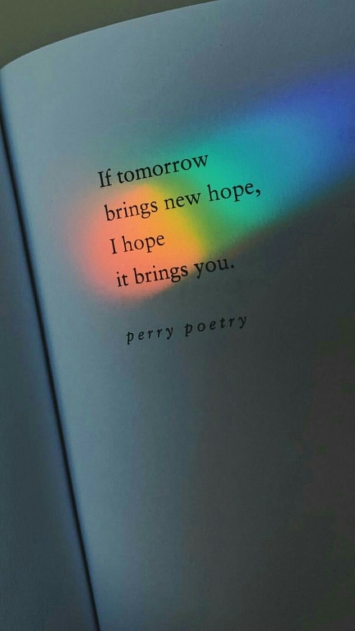 if tomorrow brings new hope i hope it brings you, strength positive quotes, black letters on white book page