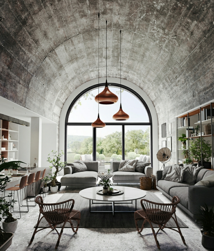 tall windows, grey sofas, wooden armchairs, round coffee table, formal living room ideas