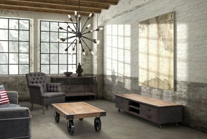 white brick wall, industrial style apartment, modern living room decor ideas, grey sofa an armchair, wooden coffee table