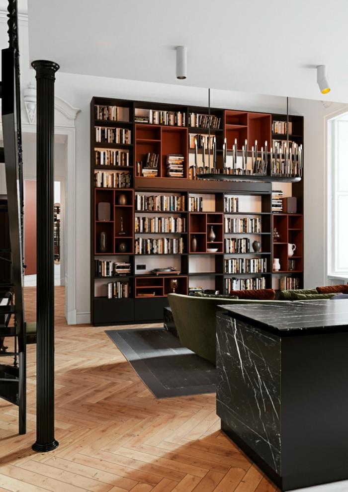large bookshelf, formal living room ideas, marble kitchen island, wooden floor with black carpet