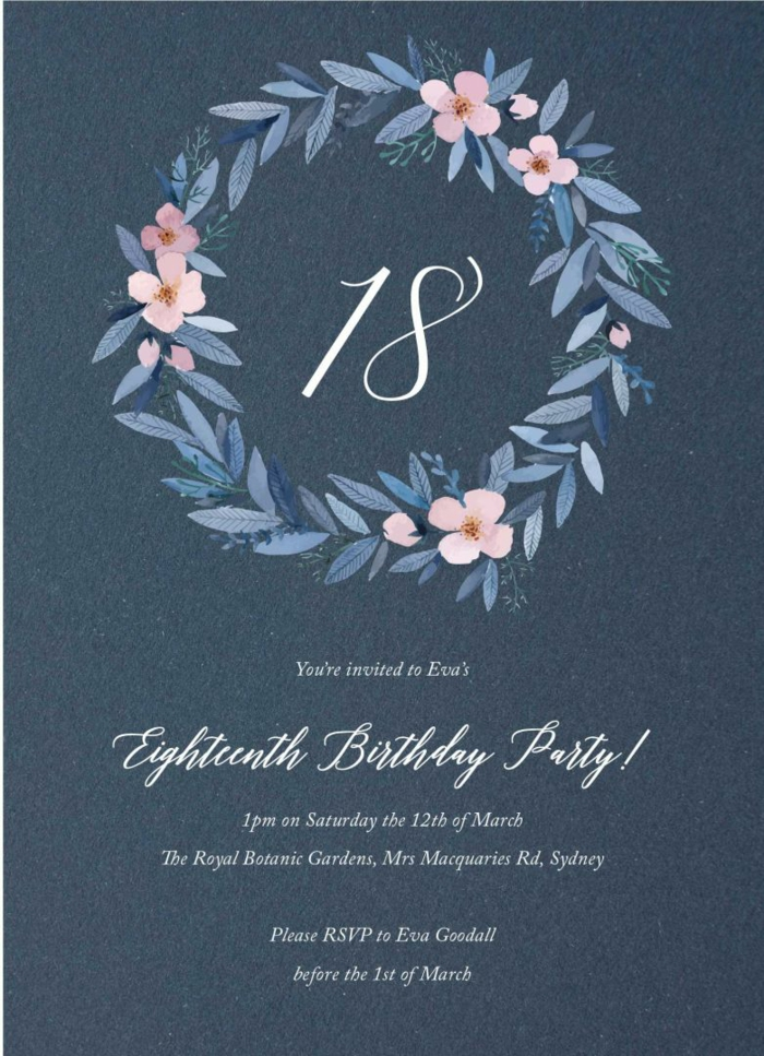 birthday party invitations, blue with floral motifs, 18th birthday gift ideas