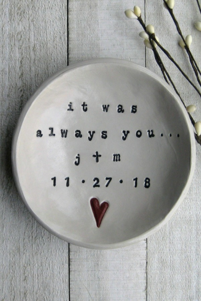 it was always you, personalised white plate, 25th anniversary gifts, placed on white wooden surface