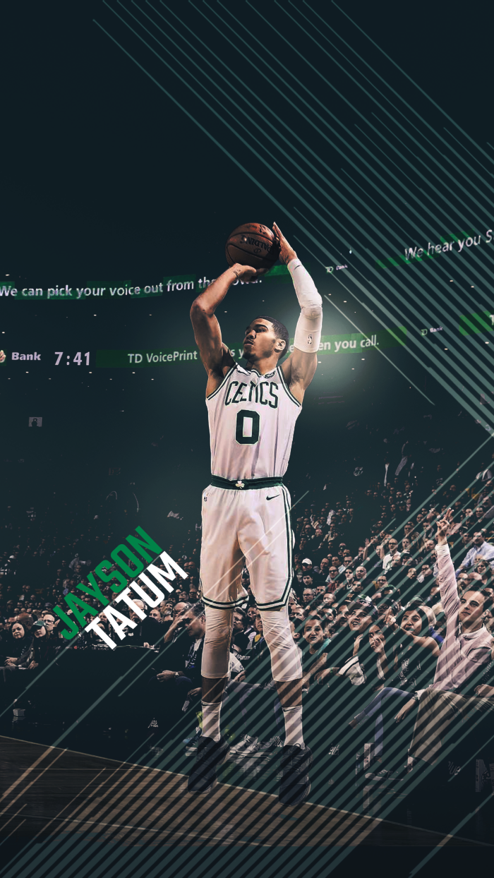 jayson tatum, wearing boston celtics uniform, cool basketball backgrounds, photographed mid jump shot