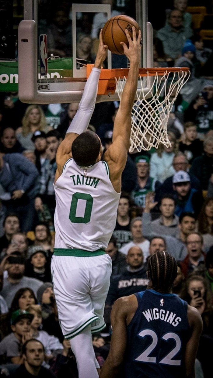 cool basketball backgrounds, jayson tatum, dunking the ball, wearing boston celtics uniform, andrew wiggins