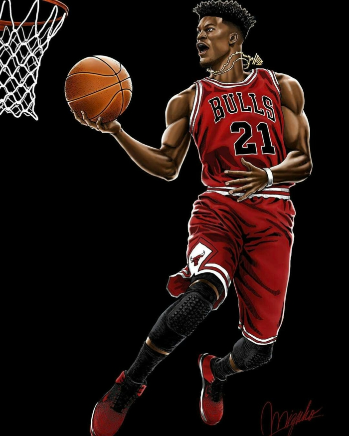 jimmy butler, wearing chicago bulls uniform, cool basketball backgrounds, holding the ball, black background