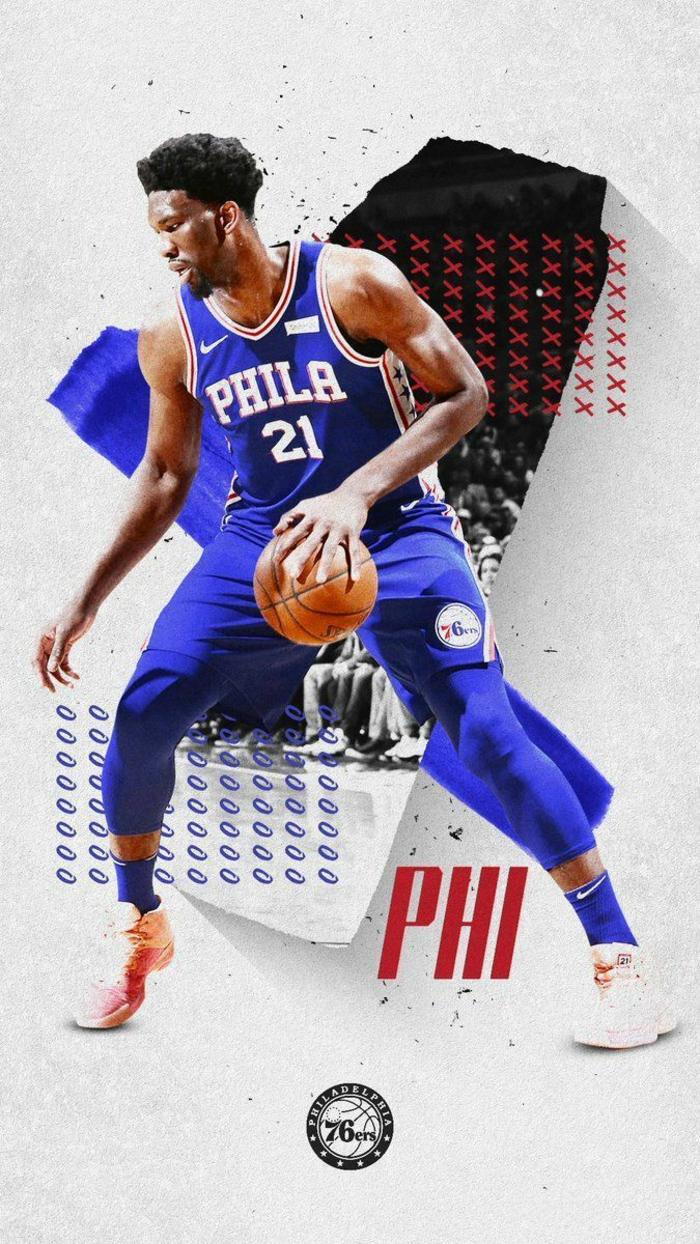 photo edit, cool basketball pictures, joel embiid, wearing philadelphia 76ers uniform