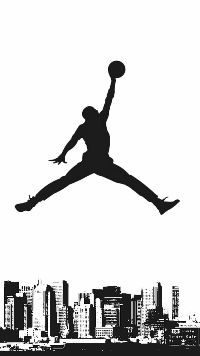 jumpman 23, air jordan logo, cool basketball pictures, white background, city skyline on the bottom