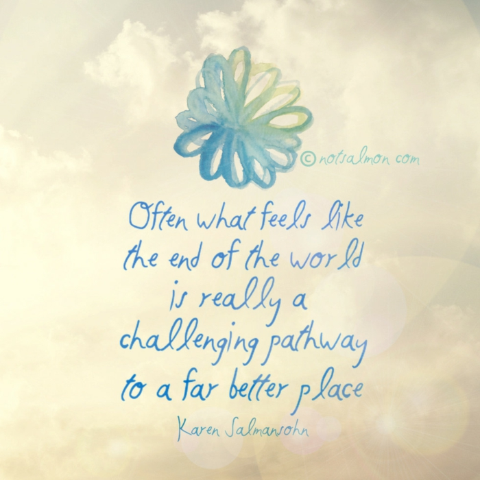 hope inspirational quotes, karen salmansohn quote, written with blue cursive letters, white background