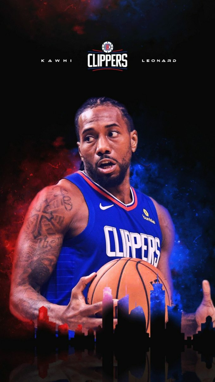 kawhi leonard, wearing los angeles clippers uniform, cool basketball pictures, holding the ball