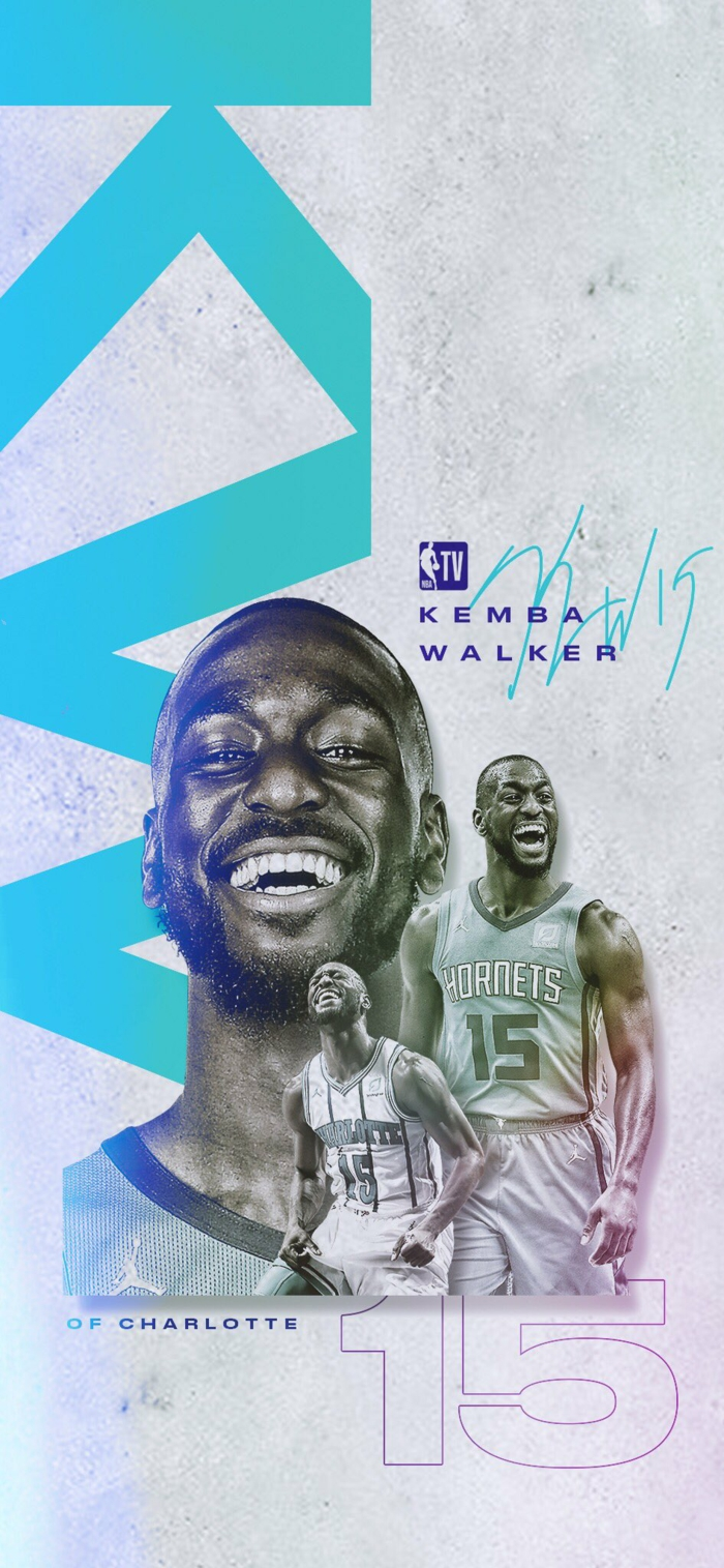 kemba walker, wearing charlotte hornets uniform, basketball player wallpaper, photo edit