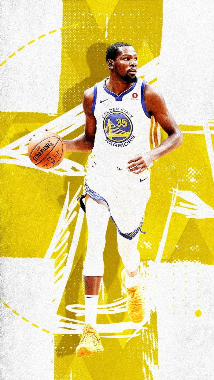 kevin durant, wearing golden state warriors uniform, basketball player wallpaper, dribbling the ball