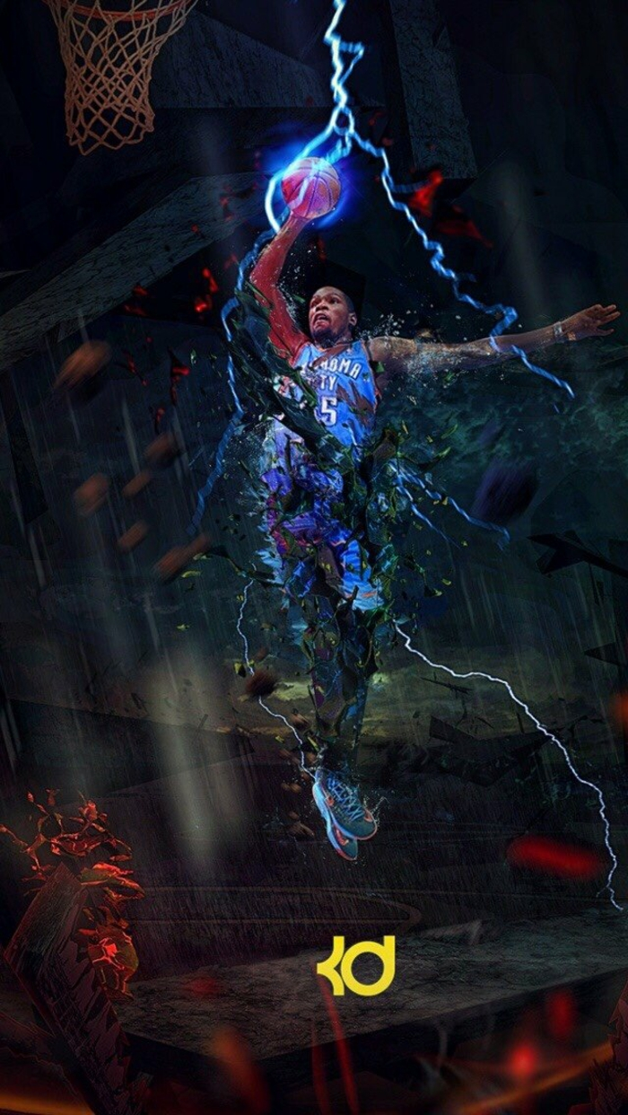 basketball player wallpaper, kevin durant, wearing oklahoma city thunder uniform, photo edit