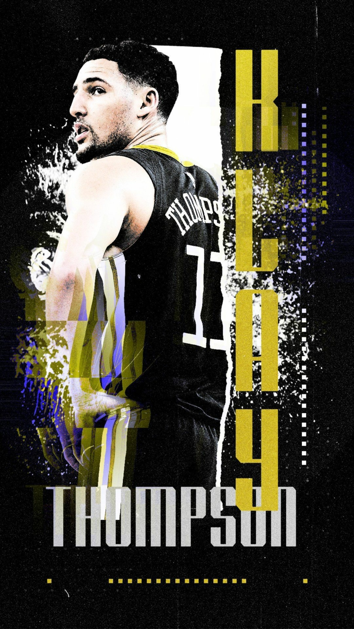 klay thompson, photo edit, basketball player wallpaper, wearing golden state warriors uniform